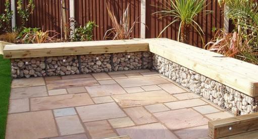 Gabion landscaping design ideas rocks stone walls fences for Garden design ideas usa