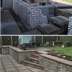 concrete capped gabions and steps