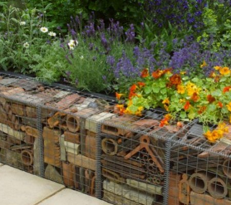 gabions filled with recycled bricks