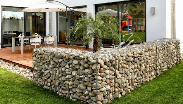 gabion patio fence