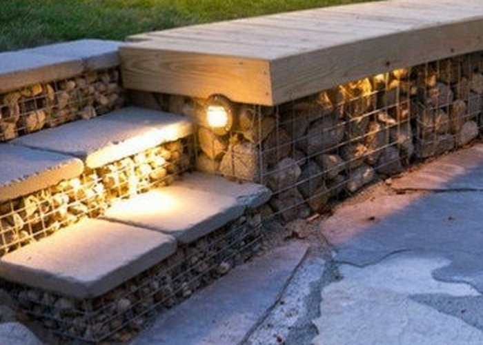 gabion night stairs